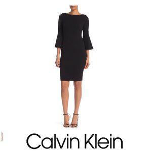 Calvin Klein Black Bell Sleeve Knit Dress Sz 4